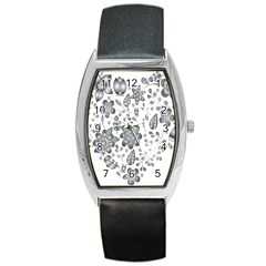 Grayscale Floral Heart Background Barrel Style Metal Watch