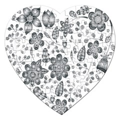 Grayscale Floral Heart Background Jigsaw Puzzle (heart)