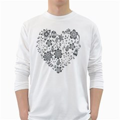 Grayscale Floral Heart Background White Long Sleeve T Shirts