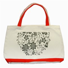 Grayscale Floral Heart Background Classic Tote Bag (red)