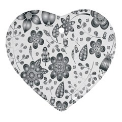 Grayscale Floral Heart Background Heart Ornament (two Sides)