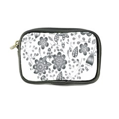 Grayscale Floral Heart Background Coin Purse