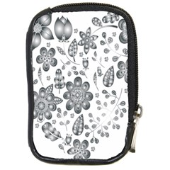 Grayscale Floral Heart Background Compact Camera Cases