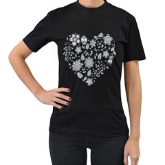 Grayscale Floral Heart Background Women s T Shirt (black)