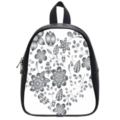 Grayscale Floral Heart Background School Bag (small)