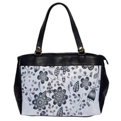 Grayscale Floral Heart Background Office Handbags