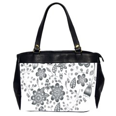 Grayscale Floral Heart Background Office Handbags (2 Sides)