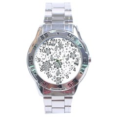 Grayscale Floral Heart Background Stainless Steel Analogue Watch