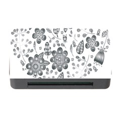 Grayscale Floral Heart Background Memory Card Reader With Cf