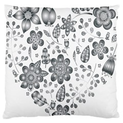 Grayscale Floral Heart Background Large Cushion Case (two Sides)
