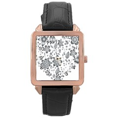 Grayscale Floral Heart Background Rose Gold Leather Watch