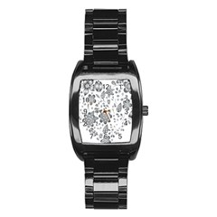Grayscale Floral Heart Background Stainless Steel Barrel Watch