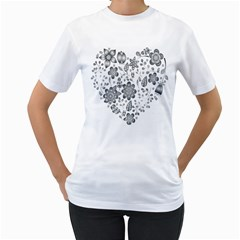Grayscale Floral Heart Background Women s T Shirt (white)
