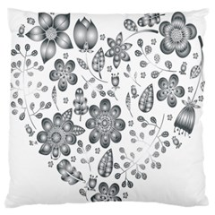 Grayscale Floral Heart Background Large Flano Cushion Case (one Side)