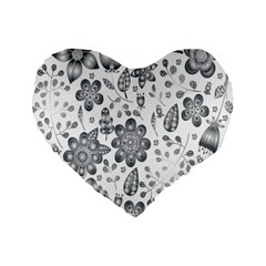 Grayscale Floral Heart Background Standard 16  Premium Flano Heart Shape Cushions