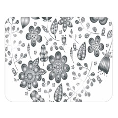 Grayscale Floral Heart Background Double Sided Flano Blanket (large)