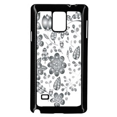 Grayscale Floral Heart Background Samsung Galaxy Note 4 Case (black)