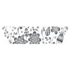 Grayscale Floral Heart Background Satin Scarf (oblong)