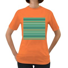 Horizontal Line Green Red Orange Women s Dark T Shirt