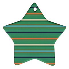 Horizontal Line Green Red Orange Star Ornament (two Sides)