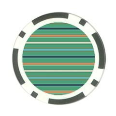Horizontal Line Green Red Orange Poker Chip Card Guard
