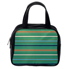 Horizontal Line Green Red Orange Classic Handbags (one Side)