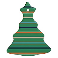 Horizontal Line Green Red Orange Ornament (christmas Tree)