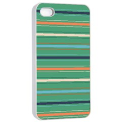 Horizontal Line Green Red Orange Apple Iphone 4/4s Seamless Case (white)