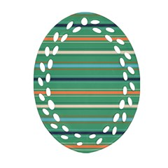 Horizontal Line Green Red Orange Oval Filigree Ornament (two Sides)