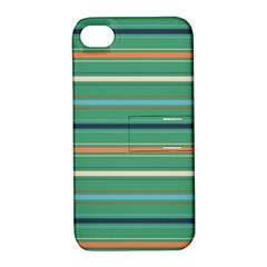 Horizontal Line Green Red Orange Apple Iphone 4/4s Hardshell Case With Stand