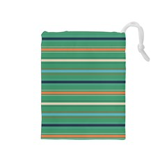 Horizontal Line Green Red Orange Drawstring Pouches (medium)
