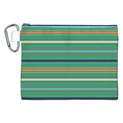 Horizontal Line Green Red Orange Canvas Cosmetic Bag (xxl)