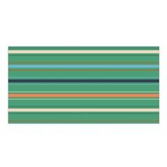 Horizontal Line Green Red Orange Satin Shawl