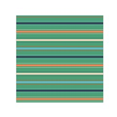 Horizontal Line Green Red Orange Small Satin Scarf (square)