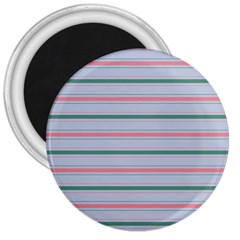 Horizontal Line Green Pink Gray 3  Magnets