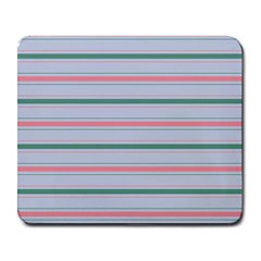 Horizontal Line Green Pink Gray Large Mousepads