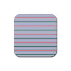Horizontal Line Green Pink Gray Rubber Square Coaster (4 Pack)