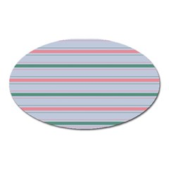 Horizontal Line Green Pink Gray Oval Magnet