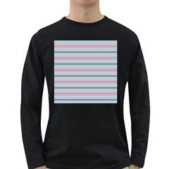Horizontal Line Green Pink Gray Long Sleeve Dark T Shirts
