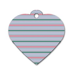 Horizontal Line Green Pink Gray Dog Tag Heart (two Sides)