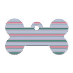 Horizontal Line Green Pink Gray Dog Tag Bone (two Sides)