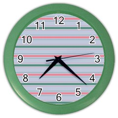 Horizontal Line Green Pink Gray Color Wall Clocks