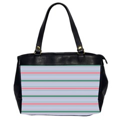 Horizontal Line Green Pink Gray Office Handbags (2 Sides)