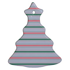 Horizontal Line Green Pink Gray Christmas Tree Ornament (two Sides)