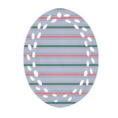 Horizontal Line Green Pink Gray Oval Filigree Ornament (two Sides)