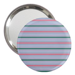 Horizontal Line Green Pink Gray 3  Handbag Mirrors