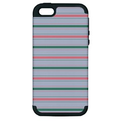 Horizontal Line Green Pink Gray Apple Iphone 5 Hardshell Case (pc+silicone)