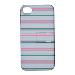 Horizontal Line Green Pink Gray Apple Iphone 4/4s Hardshell Case With Stand