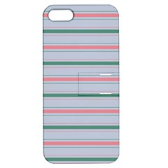 Horizontal Line Green Pink Gray Apple Iphone 5 Hardshell Case With Stand