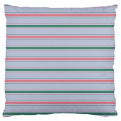 Horizontal Line Green Pink Gray Large Flano Cushion Case (one Side)